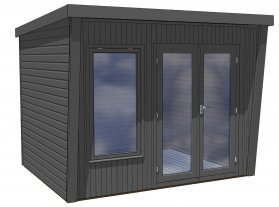 Classic office garden office in black with a pent roof and double doors from Crane Garden Buildings