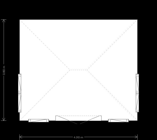 12 x 14 Garden Room featuring Hipped Roof - (Ref: 422) (422) floorplan