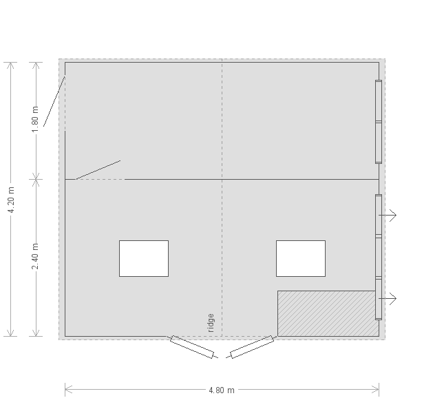 16 x 14ft Superior Shed in Farrow & Ball Down Pipe (20235) floorplan