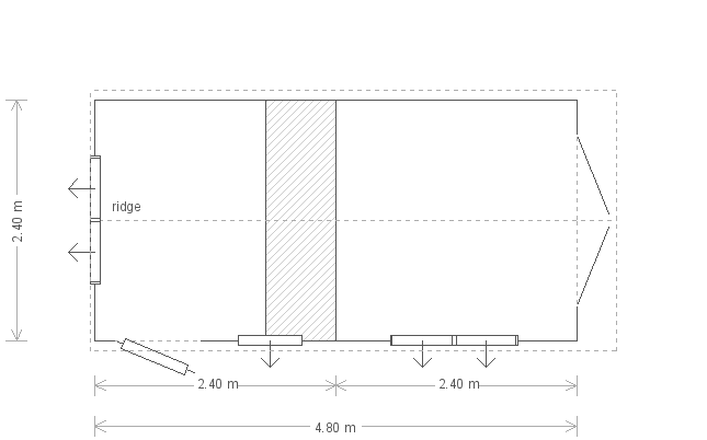 8 x 16 Superior Garden Shed With Partition (8269) floorplan