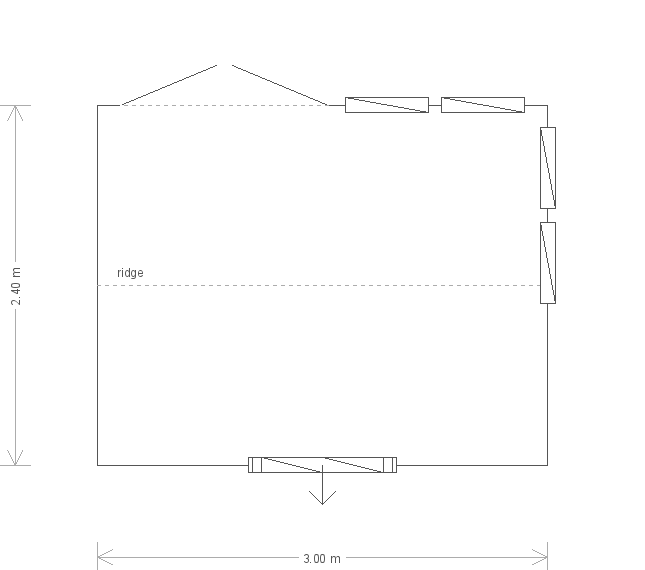 8 x 10ft Burnham Studio with Guttering (11047) floorplan