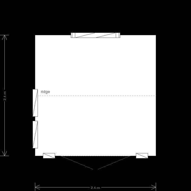 8 x 8 Burnham Garden Studio with Apex Roof: Front