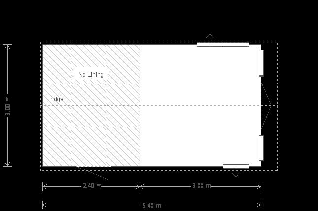 10 x 18ft Blakeney Summerhouse in Verdigris (14949) floorplan