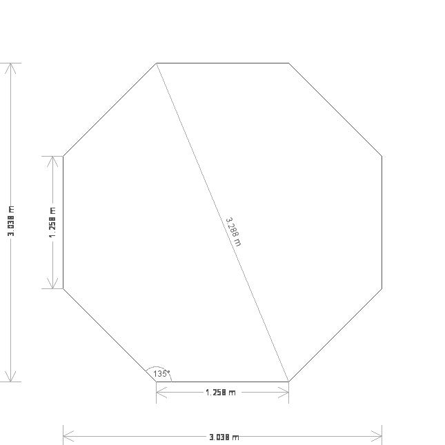 10 x 10ft Octagonal Wiveton Summerhouse  (19619) base plan