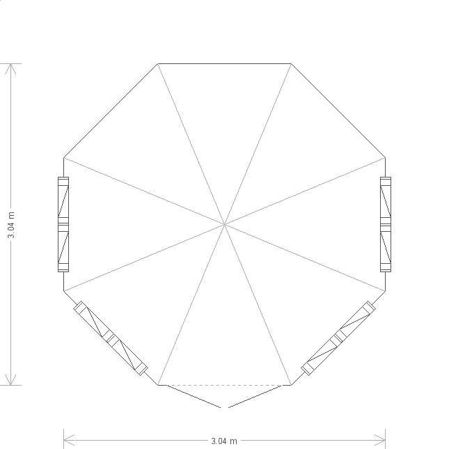 10 x 10ft Octagonal Wiveton Summerhouse  (19619) floorplan