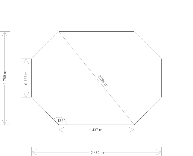 6x8'6ft Octagonal Roof Wiveton Summerhouse (20035) base plan