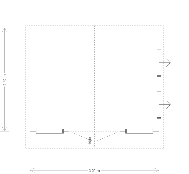 10 x 8ft Blakeney Summerhouse in Sundrenched Blue (20155) floorplan