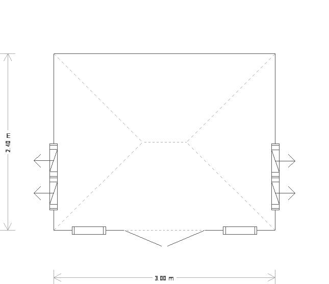 8 x 10ft Cley Summerhouse in Pebble (20345) floorplan