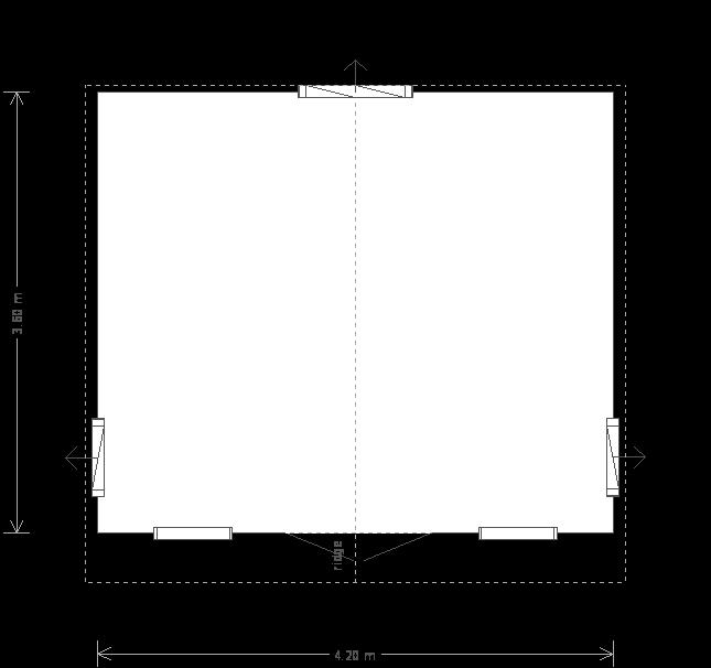 14 x 12ft Apex Summerhouse (25651) floorplan