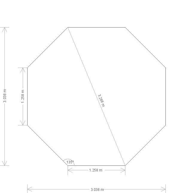 10 x 10 Wiveton Octagonal Summerhouse (5149) base plan