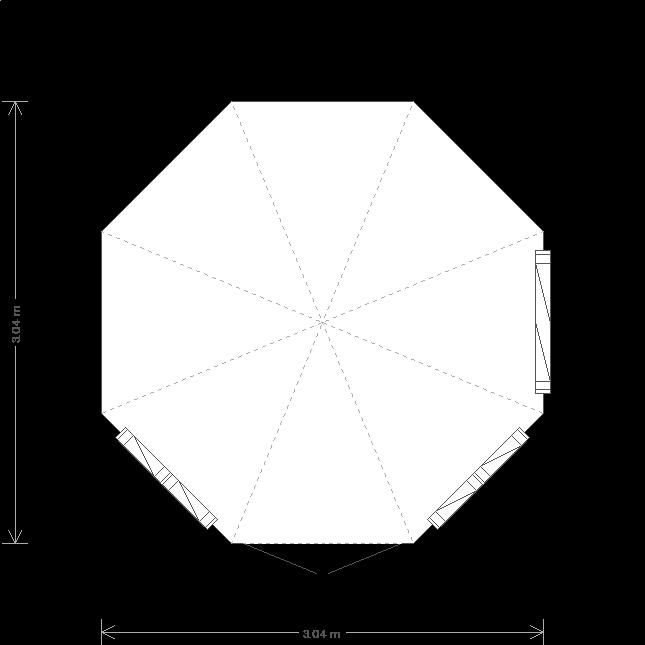 10' x 10' Wiveton Octagonal Summerhouse (Ref: 532) (532) floorplan