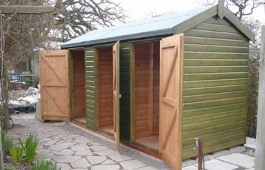 Partition in shed