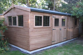 Wooden Workshop with Double Doors & Security Pack