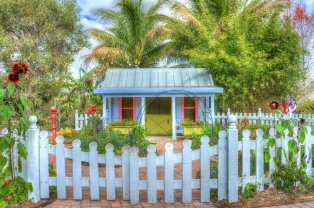 Bright colourful garden building