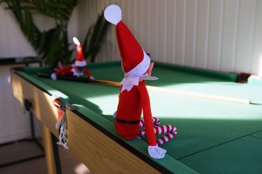Two Elves Playing Snooker in our Salthouse Studio