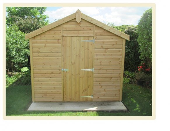 A Light Oak Superior Shed with Apex Roof