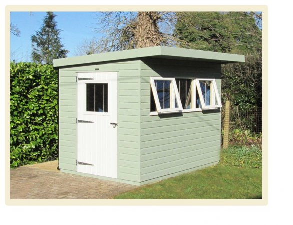 A Modern Pent Roofed Superior Shed with two contrasting paint colours from our exterior paint system