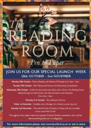 A poster of the activities that are going on to celebrate the reading room's launch