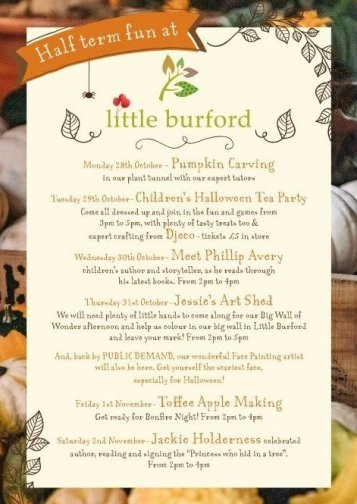 A poster of the activities on during half term at little Burford