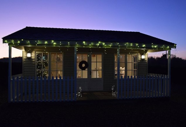 Our Pavilion Garden Room adorned with outside lights