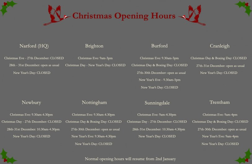 Crane Christmas Opening Hours 2019