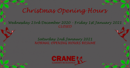Our opening hours for Christmas 2020