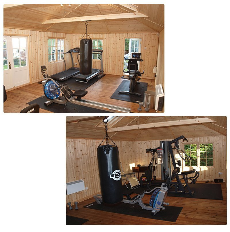 Example Home Gym Inside A Hipped Roof Garden Room