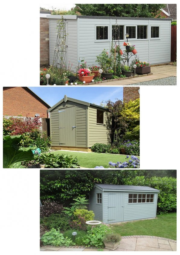 Some sheds painted in more muted tones