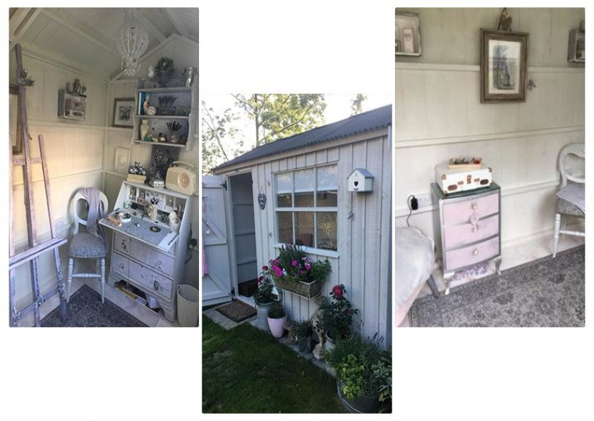 A customer's 'She Shed' showing examples of upcycled furniture