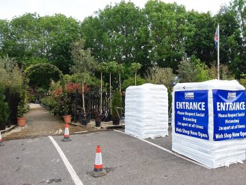 Social distancing procedures in place at Crane Garden Buildings Show Site in Goldcliff