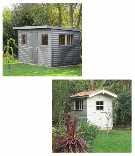 Apex Roof Superior Shed and Pent Roof Superior Shed both with Overhangs