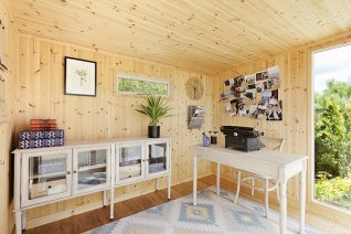 A garden office setup inside our Salthouse Studio