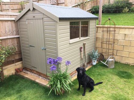 Our winning photo: a Classic Shed accompanied by our customer's Labrador