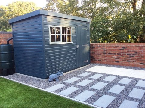 A Slate and Pebble painted Superior Shed
