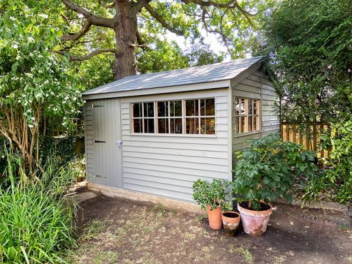 A Superior Shed Turned Workshop painted in Exterior Ash