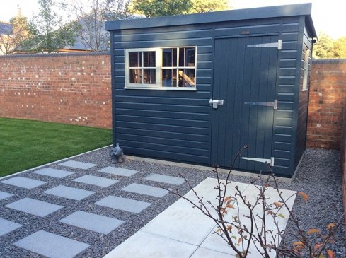 1.8 x 3.0m Superior Shed in Slate & Pebble