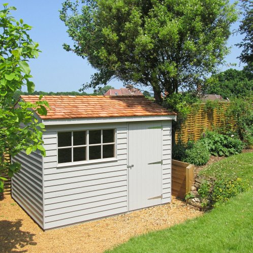 2.4 x 3.0m Superior Shed painted in Pebble