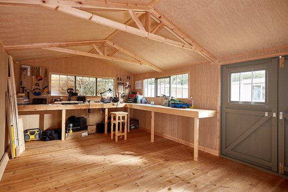 An L-Shaped Workbenches inside a Superior Shed