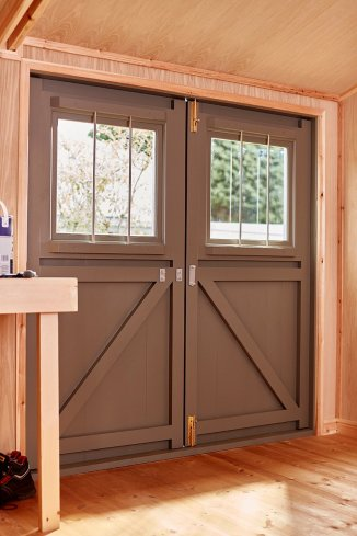 A set of double doors inside one of our Superior Sheds