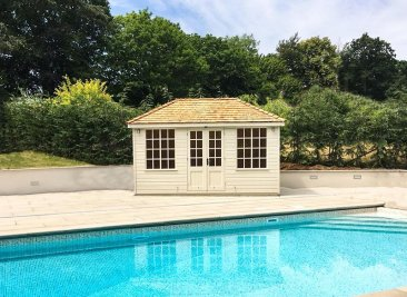 Twine-Painted Cley Summerhouse being used as a garden pool building
