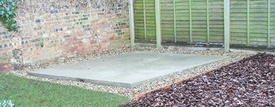 Concrete base in a customer's garden