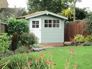Superior Shed in two paint colours - Lizard and Ivory