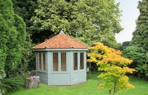 Wiveton Summerhouse in Exterior Paint System Sage Paint with Leaded Windows and Shiplap Cladding