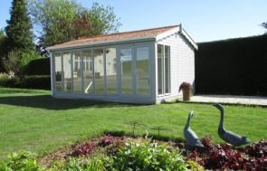 Burnham Garden Studio with Pebble paint and shiplap cladding