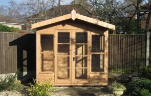 2.4 x 2.4m Blakeney Summerhouse in Light Oak Preservative with an Overhanging Apex Roof