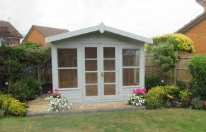 2.4 x 2.4m Blakeney Summerhouse with Verdigris paint and Shiplap Cladding