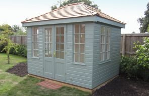 2.4 x 3.0m Cley Summerhouse in Sage Paint with Shiplap Cladding and Georgian Windows