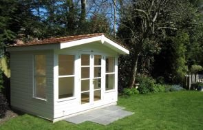 Blakeney Summerhouse in Ivory Paint with Shiplap Cladding and Cedar Shingle Roof Tiles