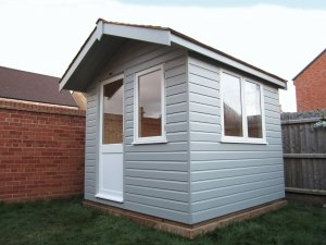 2.4 x 2.4m Binham Studio painted in two-tone Ivory and pebble paint