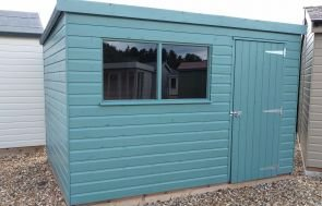 2.4 x 3.0m Classic Shed painted in Mint with a Pent Roof